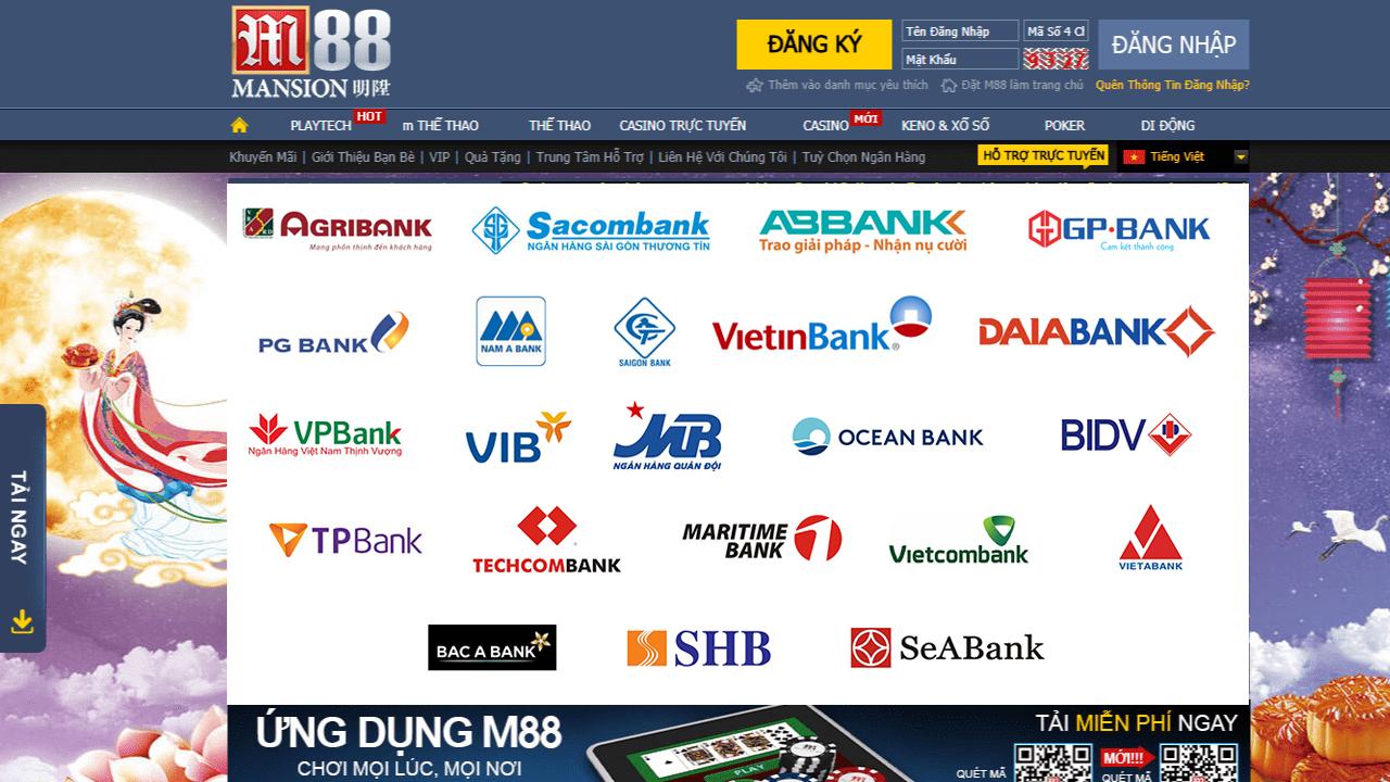 những ngân hàng được hỗ trợ nạp tiền vào m88
