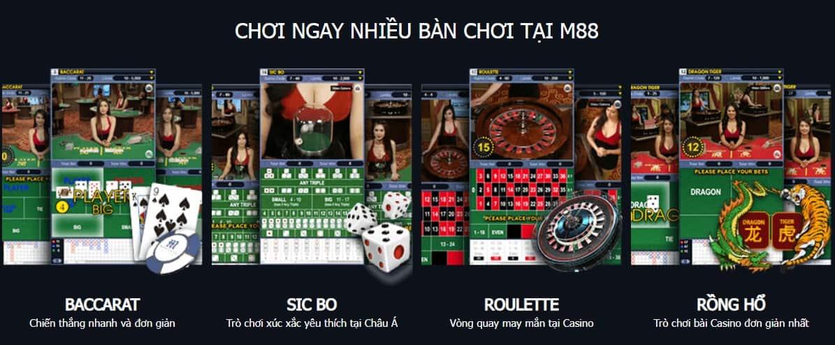 live casino m88 đa dạng game bài