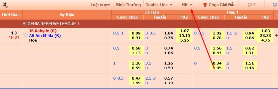 Tỷ lệ kèo HongKong